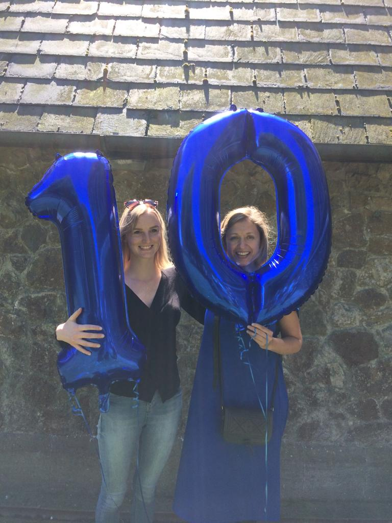 2017 - Eloise Shouls (from the Sacconis' management team at Ikon) helping Hannah celebrate our tenth Festival!