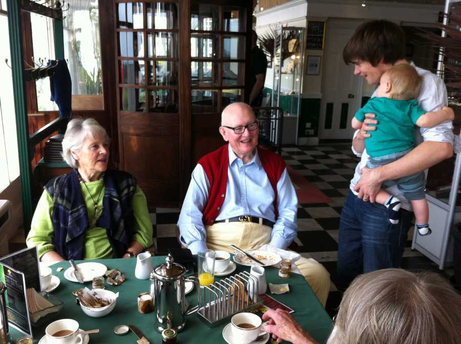 2012 - The wonderful John & Kay Shipton saying good morning to Ben and a very little Finley!
